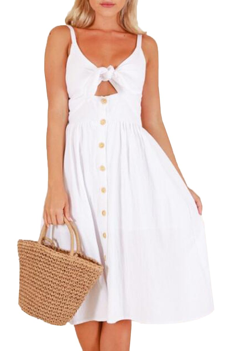 Laucote Ladies Summer Swing Sundress Strappy Off Shoulder Ruffle White Party Midi Dress