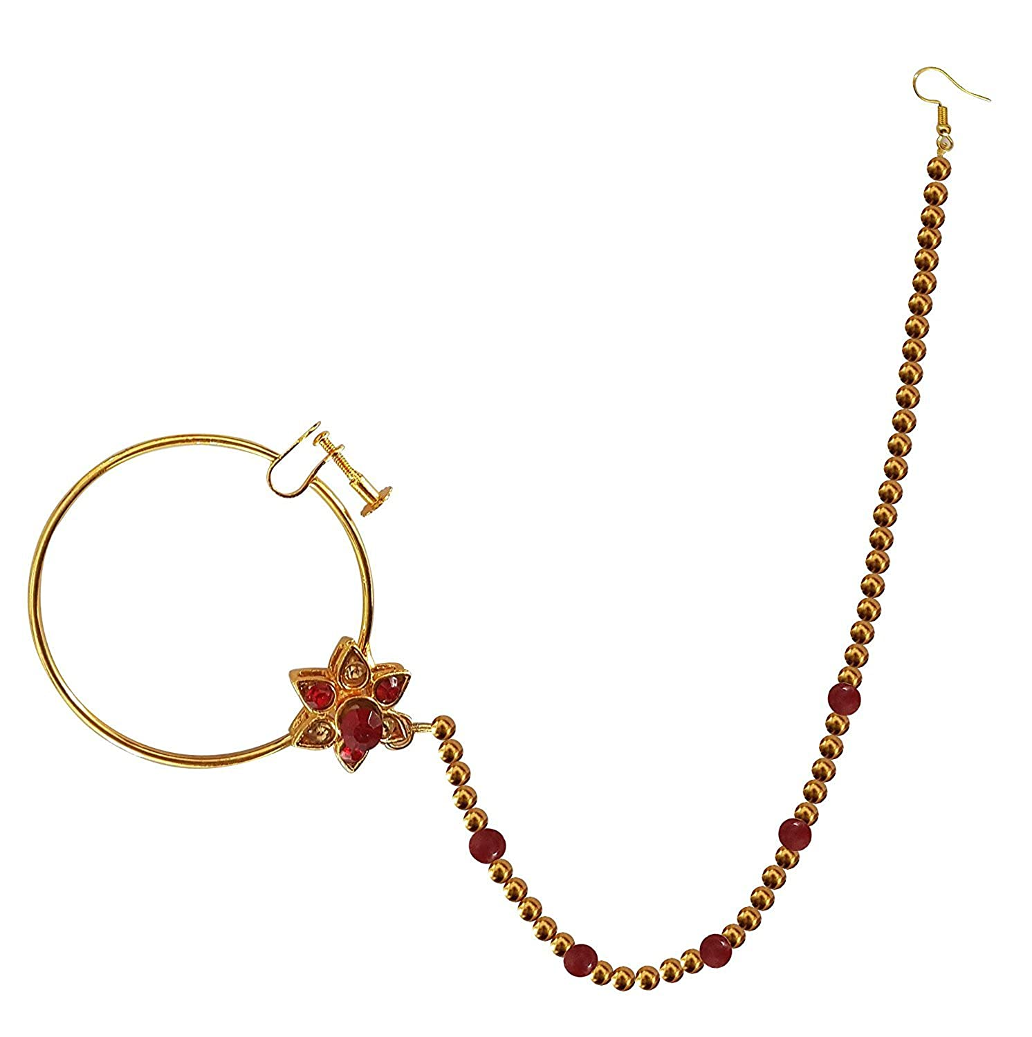 Buy Majik Bridal Nose Ring With Chain For Wedding Golden Red 10 Gram Pack Of 1 At Amazon In