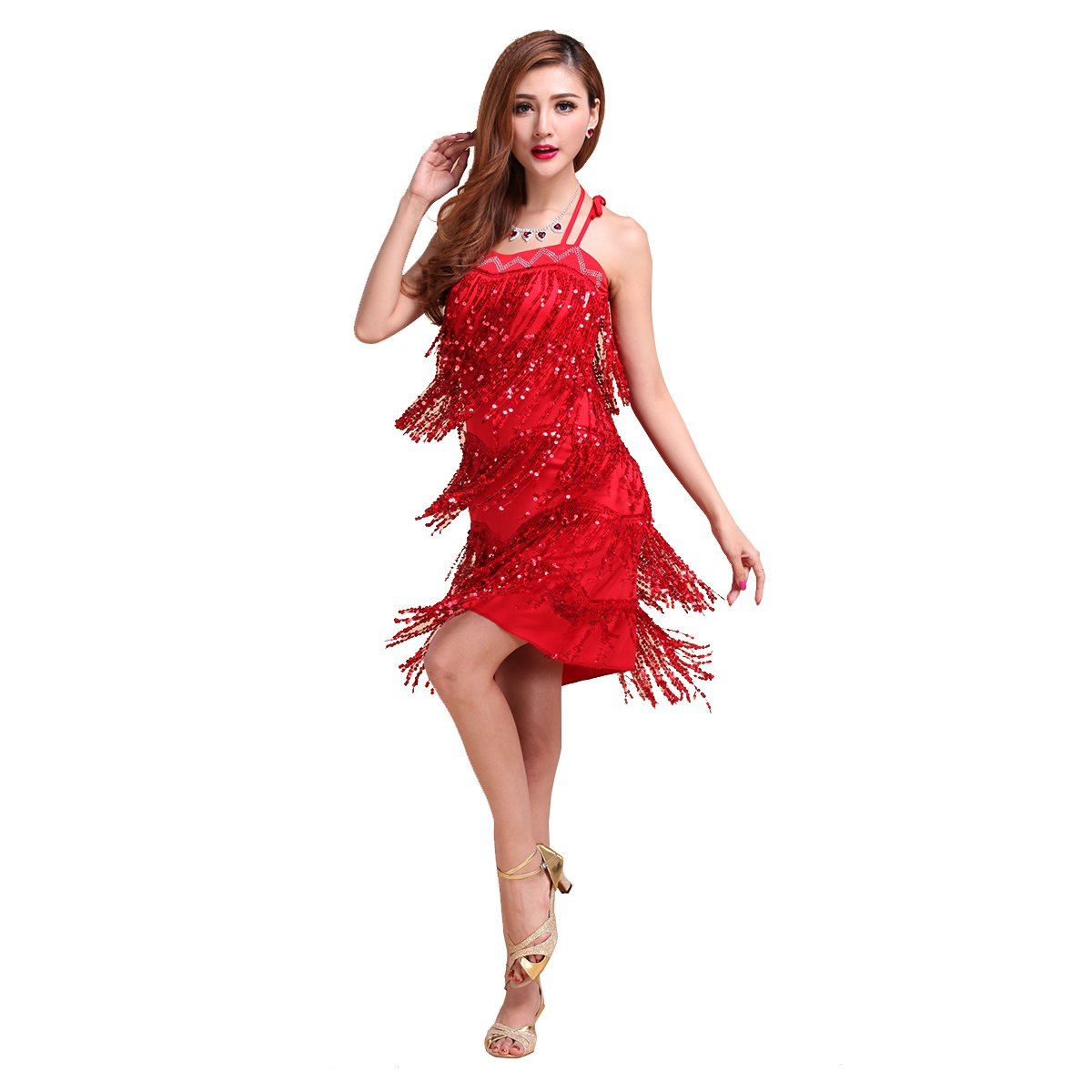 Danza De Latín CoastaCloud Tango Samba Swing Flecos Estilo Nueva Mujer traje vestido Traje Moderno L...