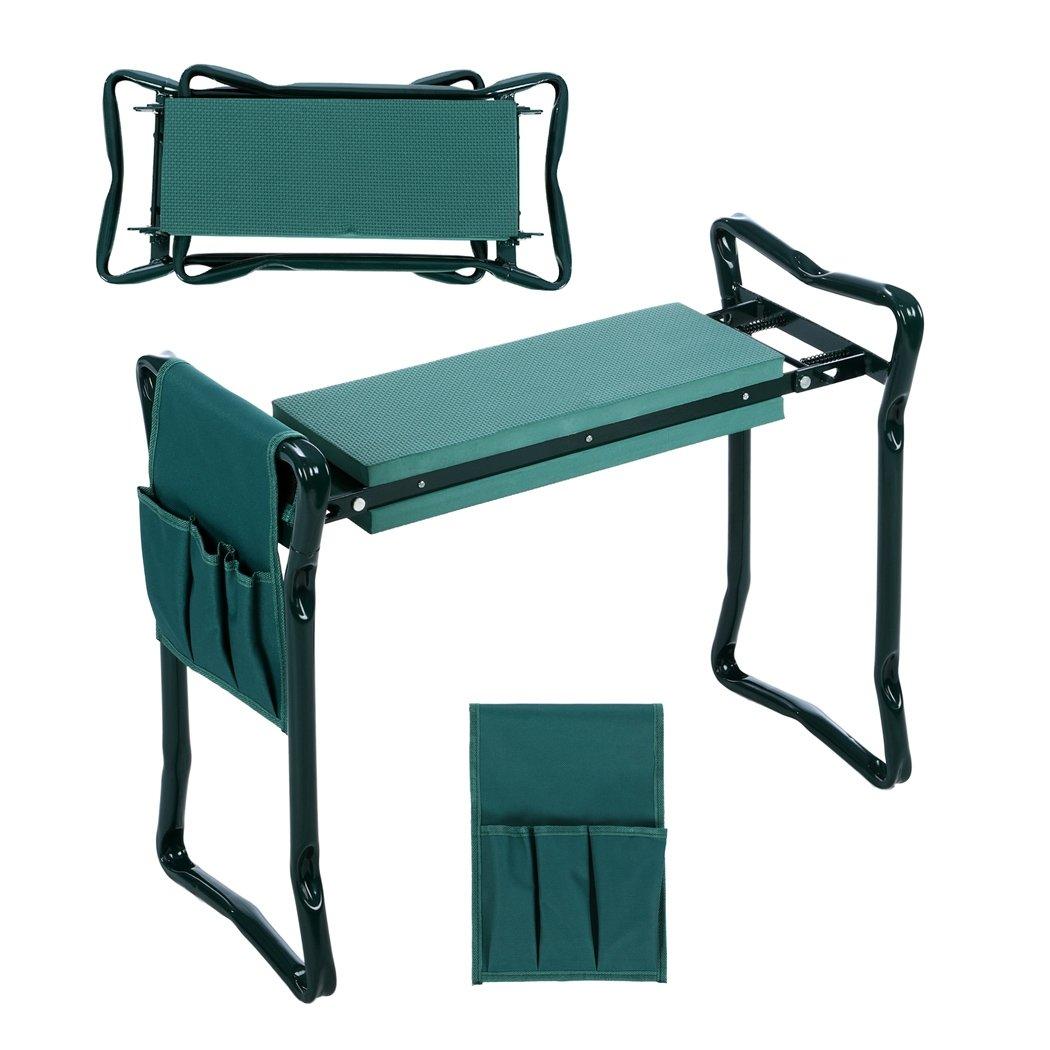 Folding Garden Kneeler and Seat with Bonus Tool Pouch, JQstar Portable Portable Garden Stool With EVA Kneeling Pad Handles Green