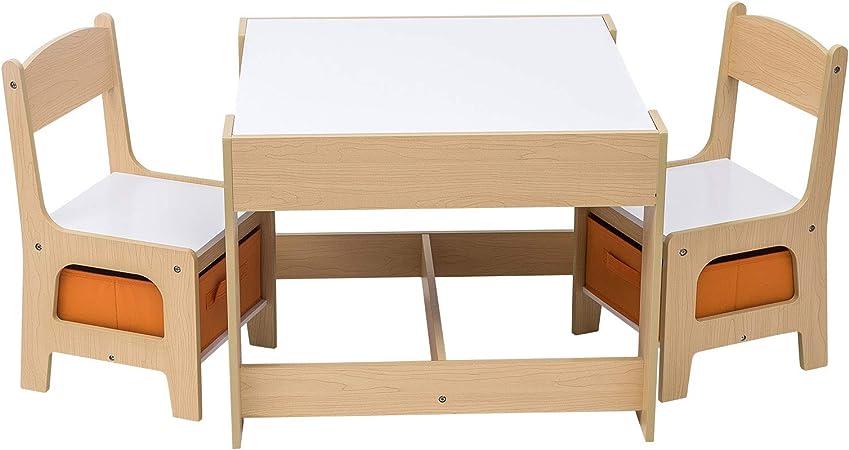 Tavolo In Legno Per Bambini Con Sedie.Woltu Sg002 Set Mobili Con Lavagna Contenitore Tavolo E Sedie Per