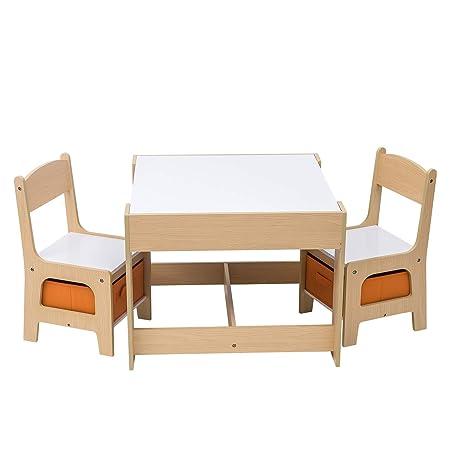 WOLTU SG002 Set Mobili con Lavagna Contenitore Tavolo e Sedie per Bambini  Gioco Soggiorno Tavolino con 2 Sgabelli in Legno