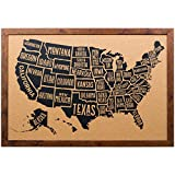 united states cork map - Craig Frames Wayfarer Cork Board, Typographic United States Push Pin Travel Map, Rustic Dark Walnut Frame and Pins, 20 by 30-Inch