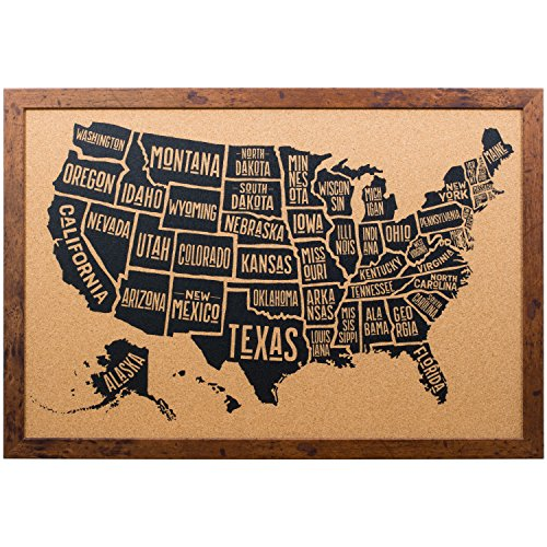 Craig Frames Wayfarer Cork Board, Typographic United States Push Pin Travel Map, Rustic Dark Walnut Frame and Pins, 20 by 30-Inch