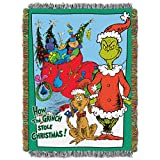 """Northwest Dr. Seuss How the Grinch Stole Christmas, Christms Smile Woven Tapestry Throw Blanket, 48""""x 60"""""""