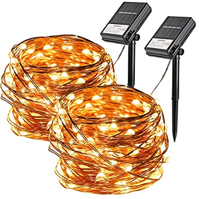 Koopower 2 Pack Outdoor Solar String Lights 100 LEDs Battery Operated Fairy Lights