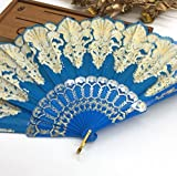 Blue Fashion Vintage Spanish Plastic Embroidered Hand Folding Women Girl Dancing Fan Home Decor Tools