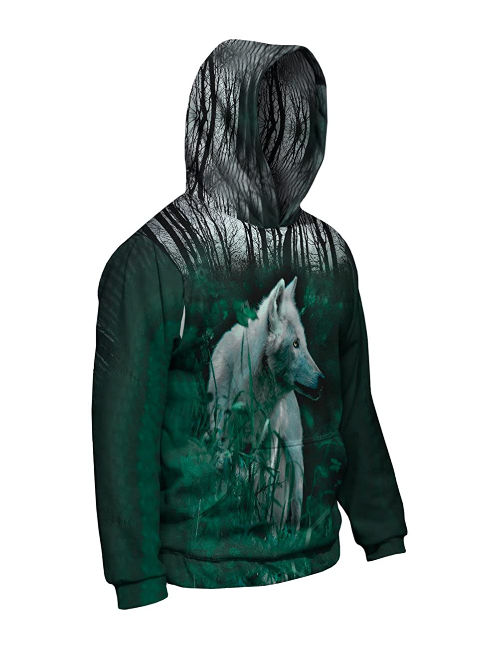 Yizzam Forest Wolf Allover Print Mens Hoodie Sweater