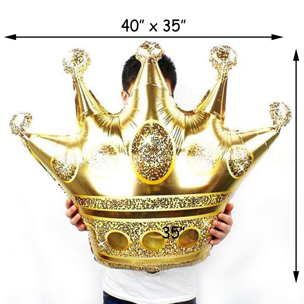 6 PCS Gold Crown Balloons Foil Helium Mylar Balloons for Kids Royal Prince Birthday Wedding Baby Shower Party Decorations