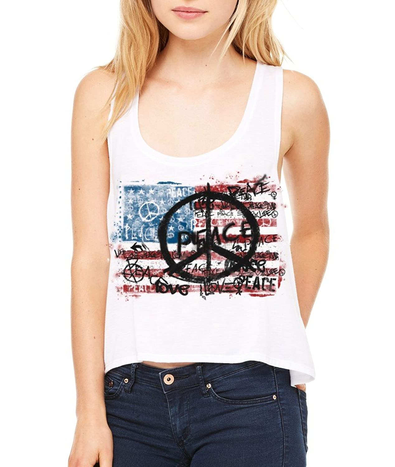 USA Flag Peace Symbol Boxy Tank Top 4th Of July Flowy Shirt