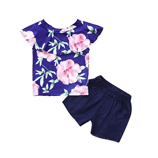 bd4e079dc73b Amazon.com  WARMSHOP Summer Outfit Set for Girls