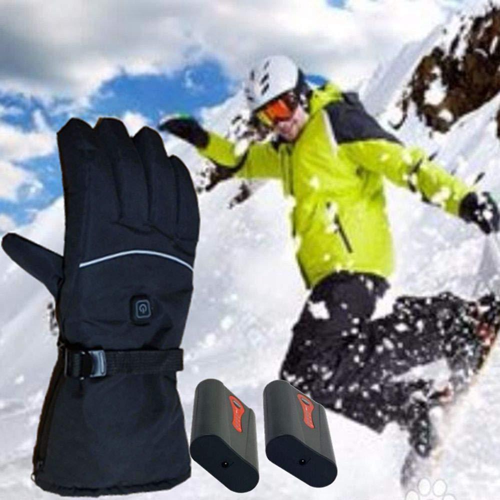 Elektrische Beheizbare Handschuhe Winterhandschuhe mit Wiederaufladbare Lithium-Ionen-Batterie Beheizt 3.7V Skihandschuhe f/ür Herren Damen Reiten Laufen Skifahren Wandern Radfahren Motorrad Handschuh