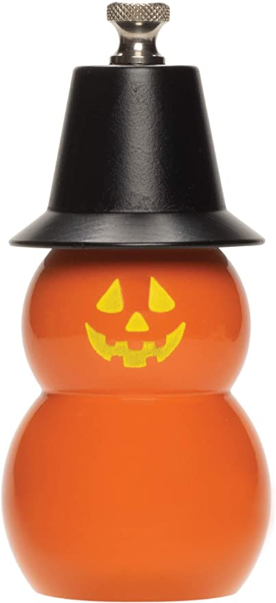 Fletchers' Mill Mini Jack O' Lantern Pepper Mill, 4 inch, orange with black hat