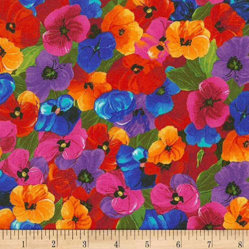 Timeless Treasures Digital Awaken Packed Flowers Multi Fabric by The Yard from Timeless Treasures