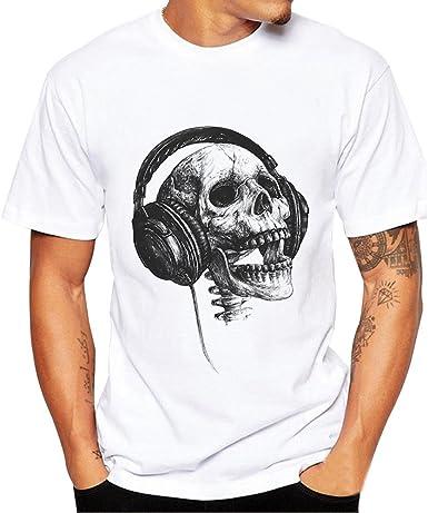 Gusspower Blusa de Los Hombres, Camiseta de Manga Corta para Hombre con Estampado de Calaveras Camiseta Camiseta Blusa Tops: Amazon.es: Ropa y accesorios