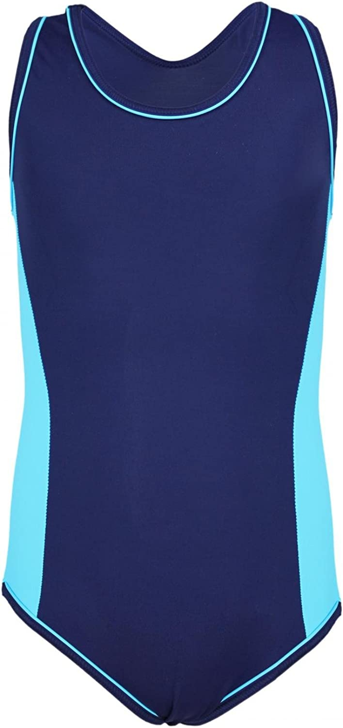 Aquarti Girls One Piece Swimsuit with Contrast Piping