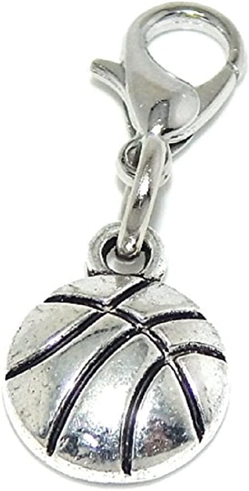 GemStorm Silver Plated Dangling Basketball Clip On Lobster Clasp Charm