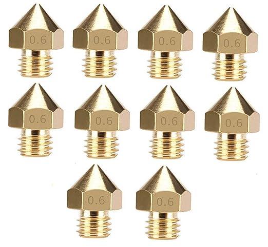 for 3DPrinter Lheng 10Pcs Filament nozzles 0.6mm MK8 Print Head for Cr10 Brass Extrude Nozzle Print Head-1.75mm Filament ABS