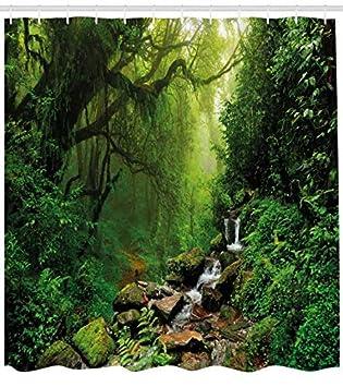 Wald Dekorativer Duschvorhang Exotischer Dschungel Wald fürs Bad 175x200cm