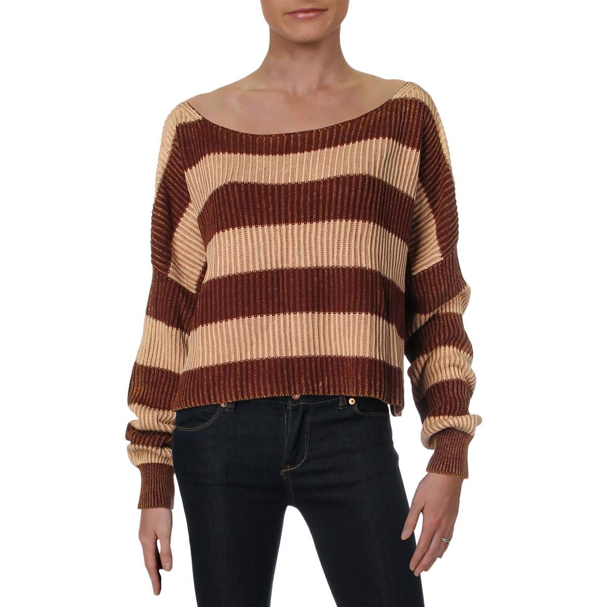 Chocolate Combo Free People Womens Cotton Striped Crop Sweater