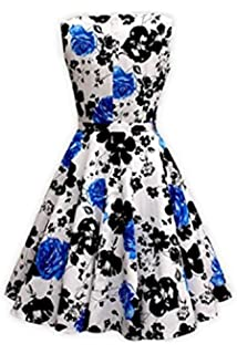 Womens 1950s Retro Sleeveless Hepburn Style Vintage Spring Garden Party Dress