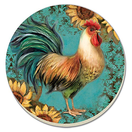 CounterArt Rooster with Sunflowers Absorbent Coasters, Set of -