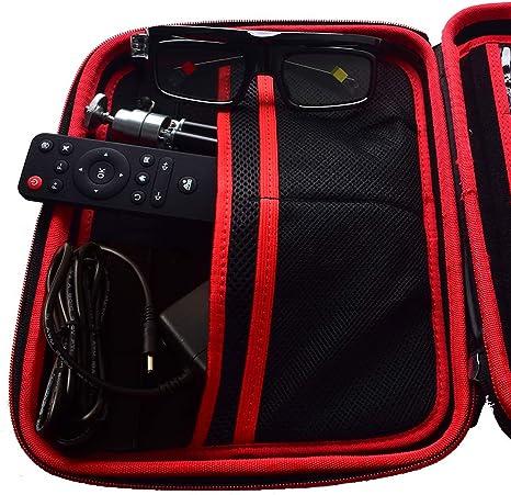 /Étui de Transport de Grande Taille pour vid/éoprojecteur 3D DLP et Accessoires Protection Coque Dure Compatible avec TOUMEI COCAR V5 T6 T6 K1 AEHR Yaufey VANKYO WOWOTO H10 H8 H9 T8E Noir TOUMEI