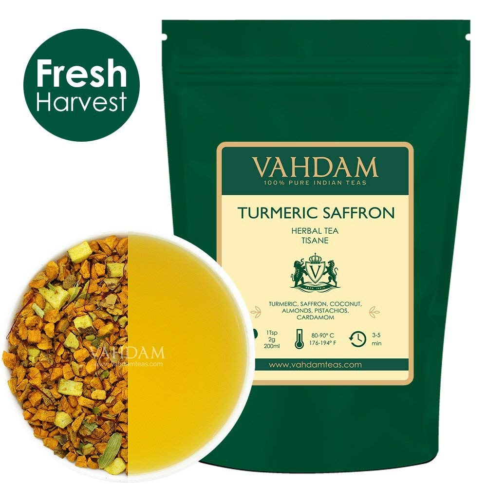 VAHDAM, Turmeric Saffron Herbal Tea Loose Leaf (50 Cups)| INDIA'S MAGIC HERB | Blend Of Turmeric Tea, Saffron Tea