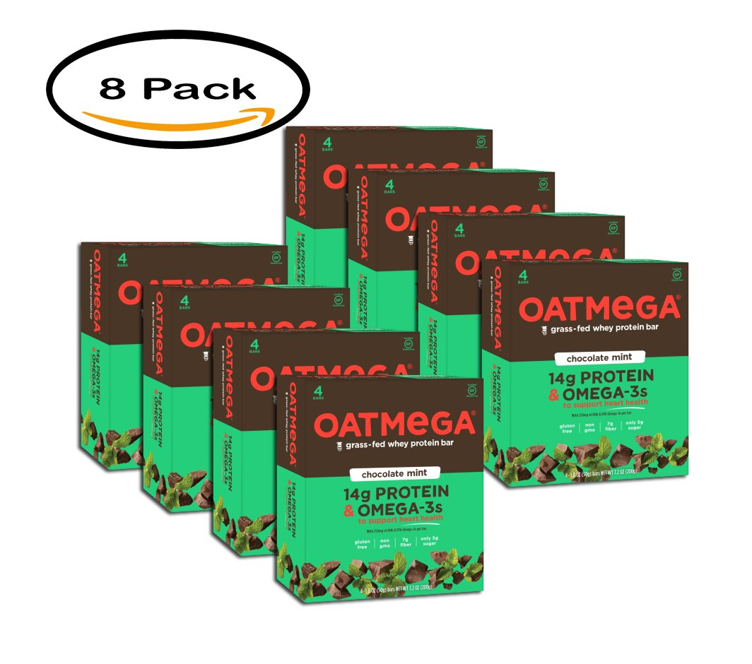 PACK OF 8 - Oatmega Chocolate Mint Crisp Protein Bars, 1.8 oz-4 count, Gluten-Free, Soy-Free, Egg-Free, Omega-3s, 5g Sugar, by Oatmega