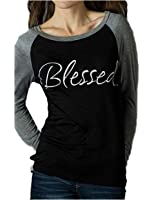 Womens Long Sleeve Blessed Print Raglan Jersey Baseball T-Shirt