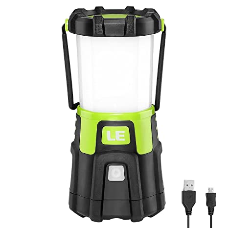 LE Lámpara Camping LED, 1200lm USB Recargable, 4 modos, Intensidad Regulable, Linterna