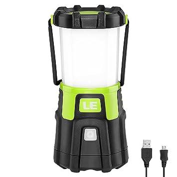 LE Lámpara Camping LED, 1200lm USB Recargable, 4 modos, Intensidad Regulable, Linterna Camping para Pesca, Excursión, Jardín, Patio etc.