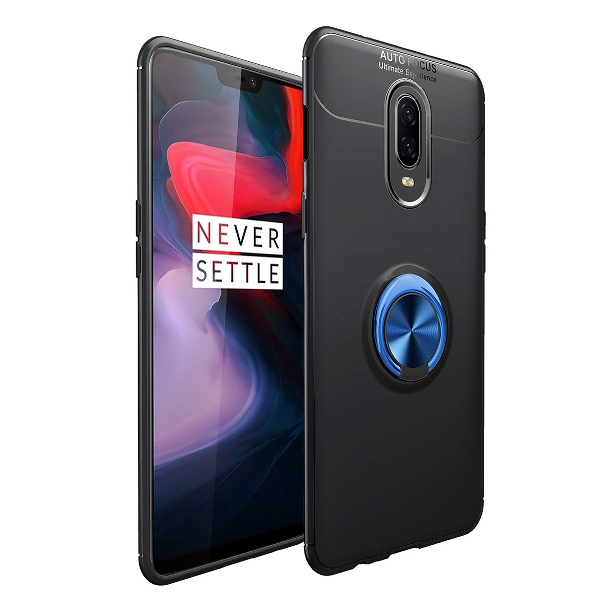 OnePlus 6T Kickstand Case Ring Slim Fit Magnetic Cover Lightweight TPU Matte Shock Absorption BeautyWill