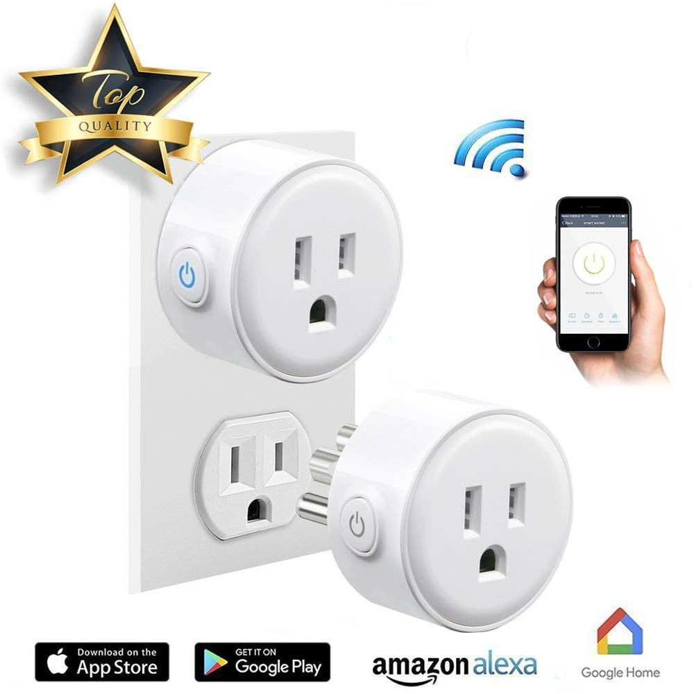 [2-Pack] WiFi Smart Plug, RuiFengShun Smartphones Remote Control Intelligent Timing Socket, No Hub Required, Wireless Voice Control Devices via Amazon Alexa & Echo/Google Home/IFTTT
