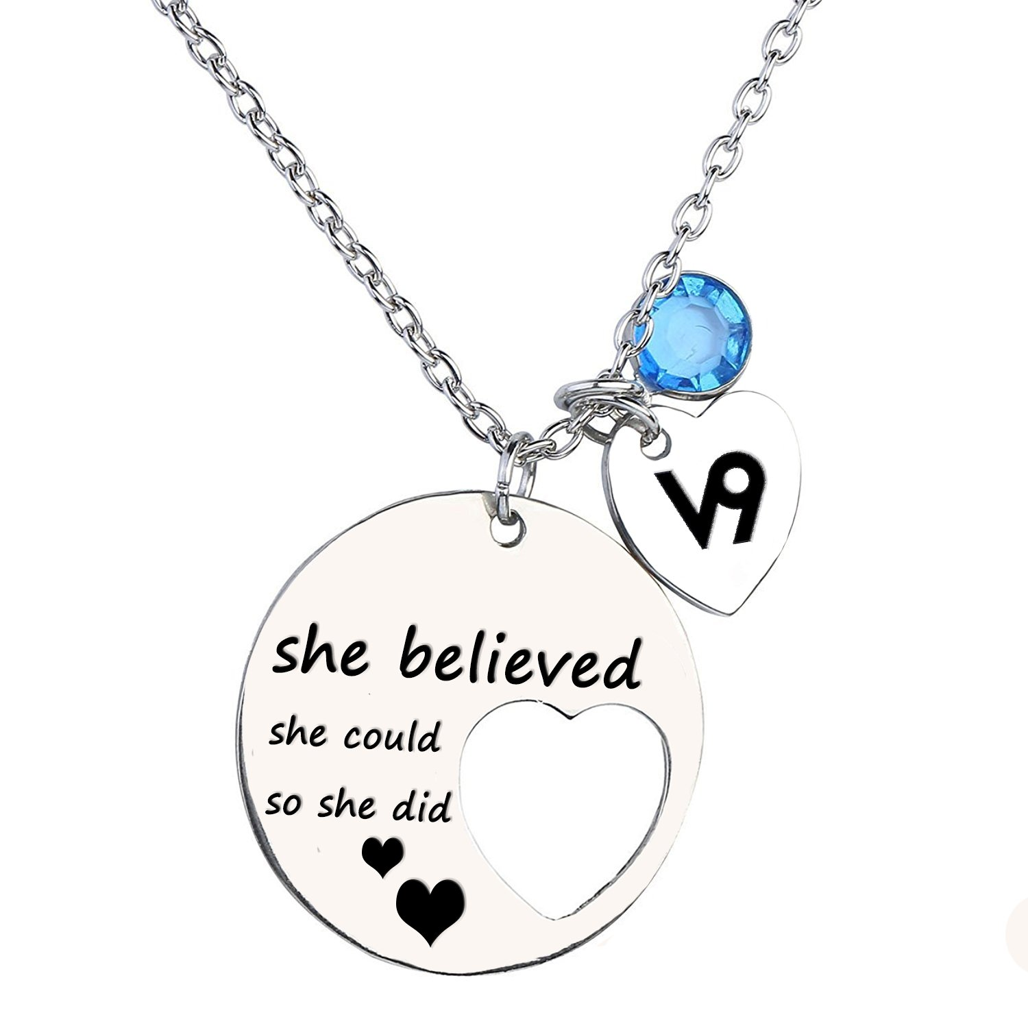 """She believed she could so she did"" Personalized Cutout Stainless Steel Necklace with Zodiac Signs and Birthstone Lywjyb Birdgot ZN-01"