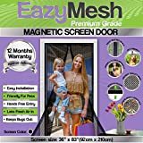 EazyMesh Polyester Mesh Magnetic Screen Door with Full Length Sewn in Velcro Seals, 36 x 83-Inches