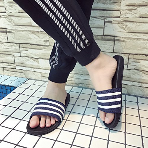 fankou Summer Stripe Anti-Slip Slippers Men and Women Inside and Outside The Home Cool Slippers Thick Sand,41-42, Blue