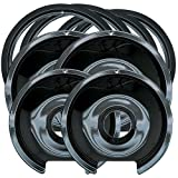drip pan ge stove - Range Kleen P1056RGE8 Style D Black Porcelain 4-Pack Drip Pans and 4-Pack Trim Rings for GE/Hotpoint