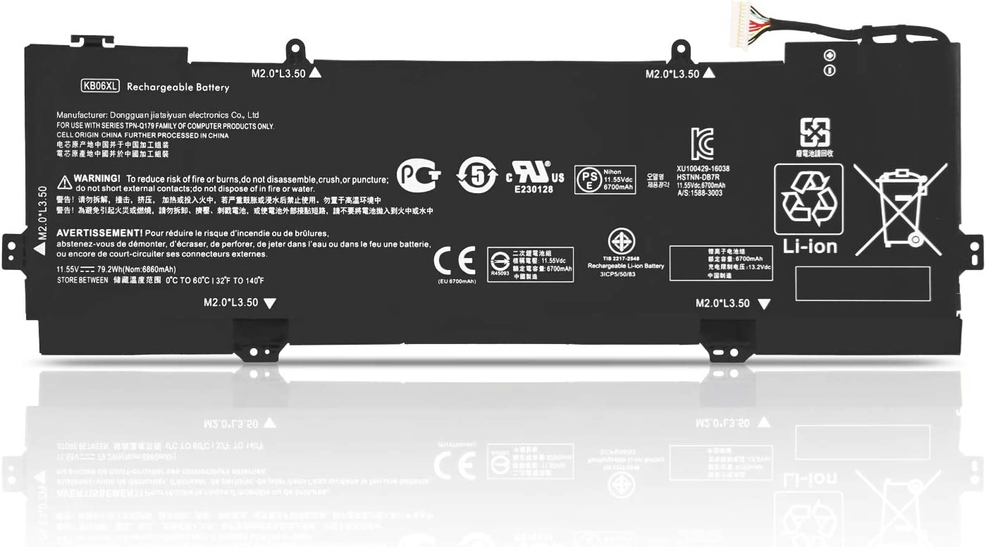 Fully KB06XL Laptop Battery Compatible with HP Spectre X360 15-BL002XX 15-BL000NA 15-BL030NG 2PG91EA Z6L01EA Z6K99EA Series Notebook HSTNN-DB7R TPN-Q179 902401-2C1 902499-855 - 11.55V 79.2Wh