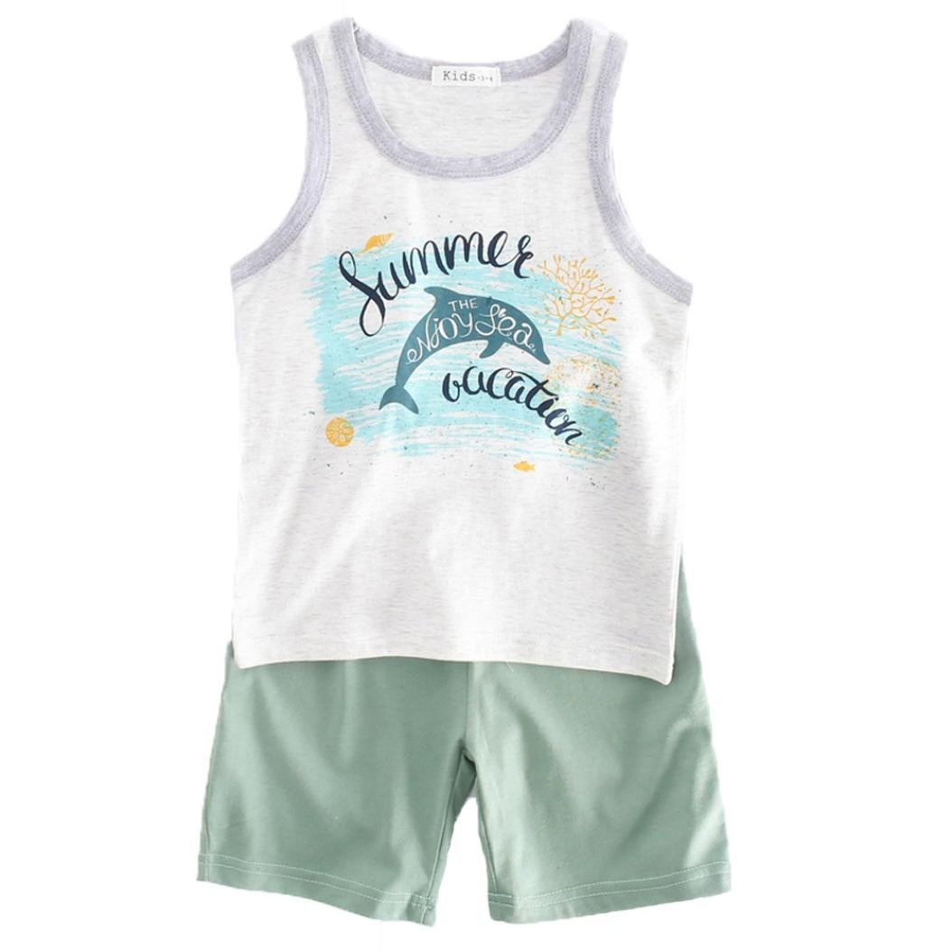 4b1f0bf60722a WARMSHOP Clothing Set for 2-6 Years, Boys Sleeveless Cartoon Dolphin Print  Summer Tops Vest and Short Pants Outfit