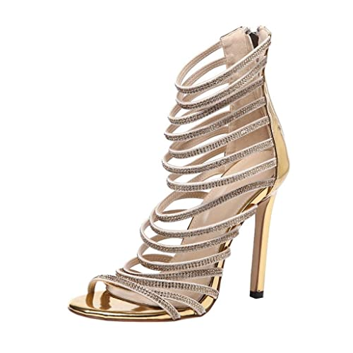 07dd03f5f7fc Inkach Fashion Womens Thin High Heels Summer Sandals  Back Zipper    Rhinestone Strappy Ankle Wrap