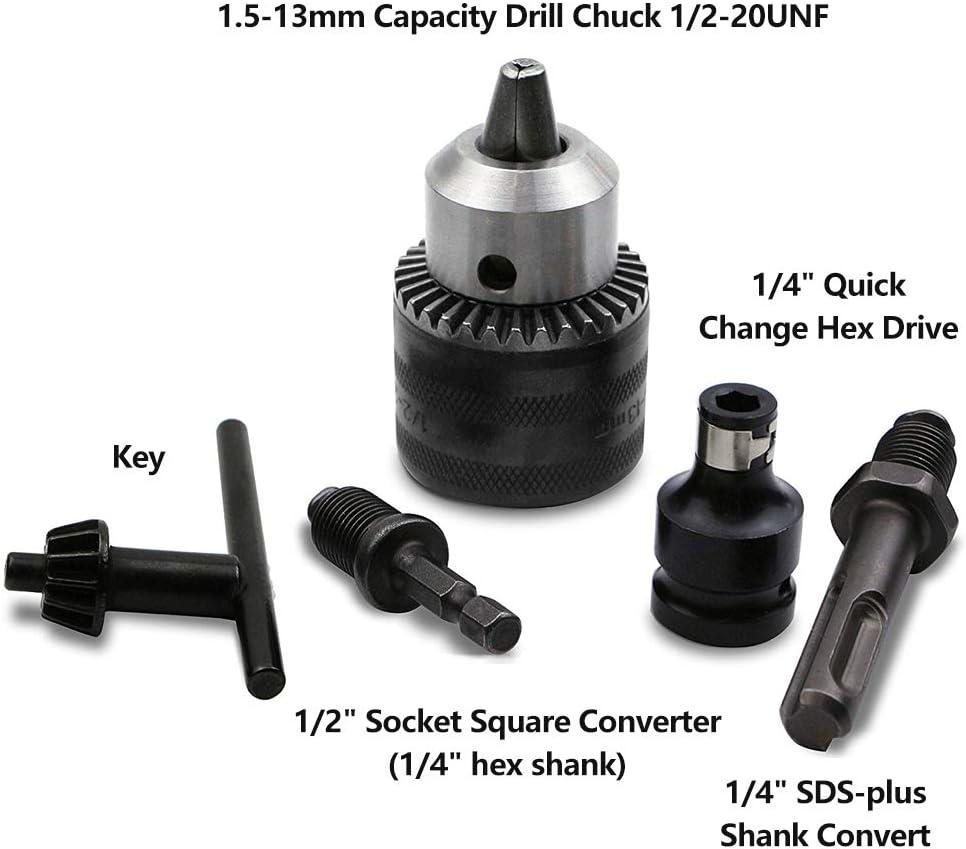 """1//4/'/' 3//8/"""" 1//2/"""" Keyless Drill Bit Chuck Quick Change Adapter Converter Hex Shank"""