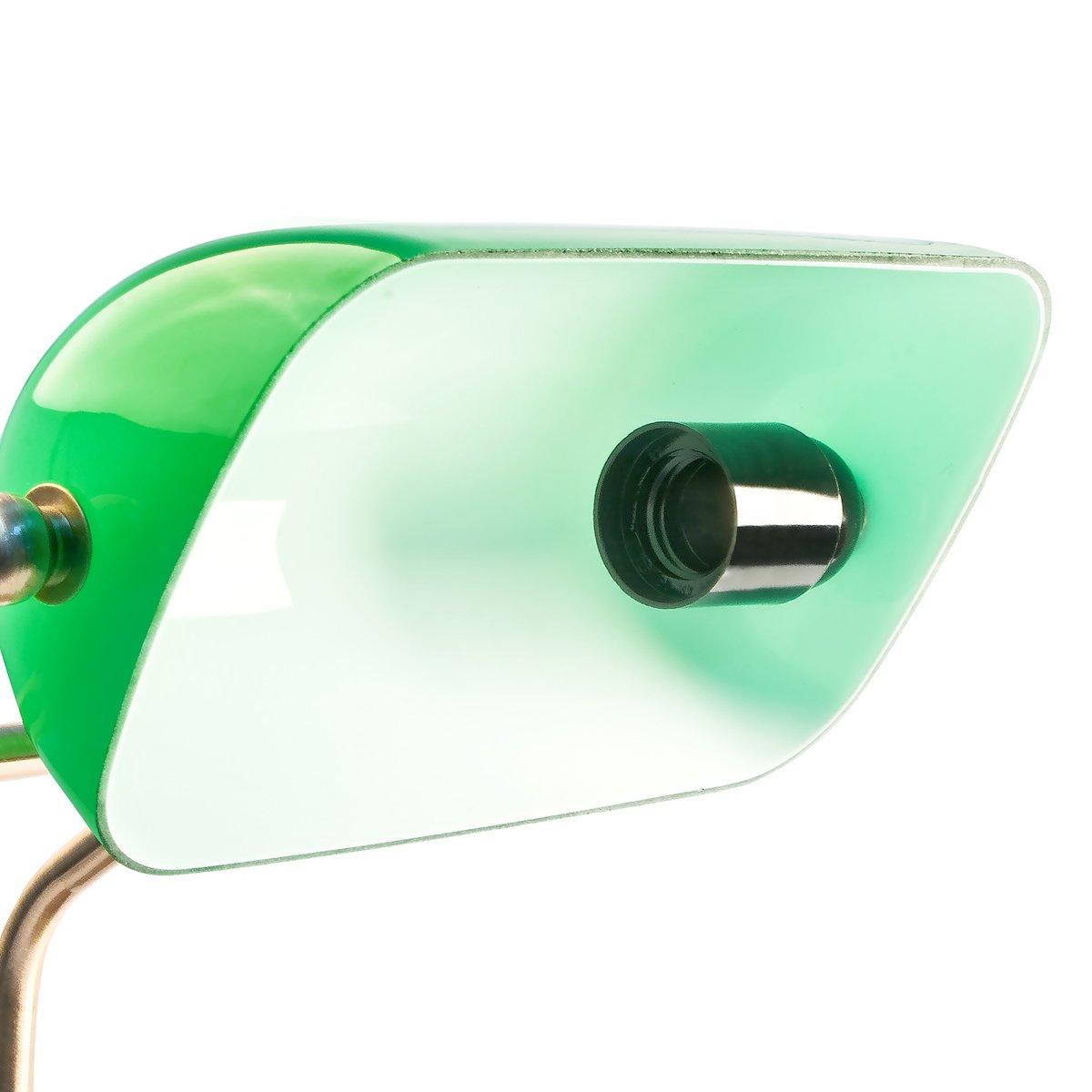 Relaxdays Bankerlampe Grün Mit Verziertem Holzfuß U2013 Retro Tischlampe Grüne  Schreibtischlampe Bibliotheksleuchte Banker Lampe Im 20er Jahre Dekor U2013  Farbe: ...