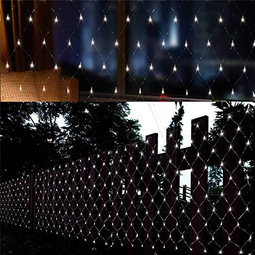 Battery Net String Lights 4.9×3.9Ft 100LED 8 Modes Mesh Indoor Outdoor Backdrop LED Curtain Lights for Xmas Patio Bedroom Gate Yard Party Wedding and Holiday Decor 2 Pack