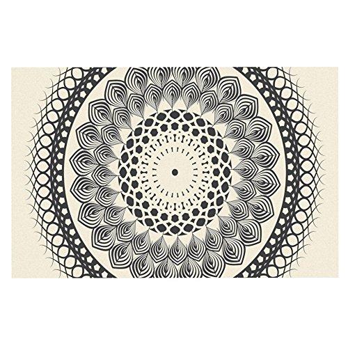 KESS InHouse Famenxt Black & White Boho Mandala  Geometric Dog Place Mat, 13  x 18