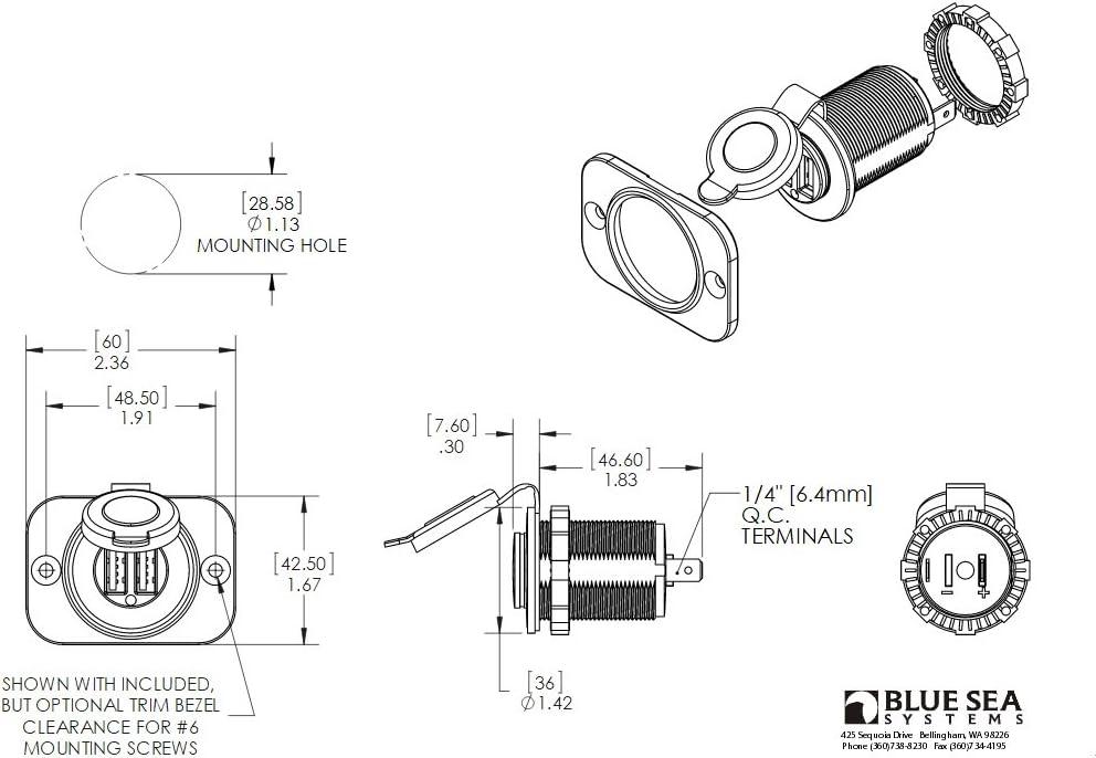 12V Sockets and Mini OLED Monitors Blue Sea Systems BelowDeck Panels Dual USB Chargers