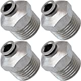 Vixen Air 1/2'' NPT Male Push to Connect (PTC) Straight Pneumatic Fitting for 1/4'' OD Hose - Bundle of Four Fittings VXA7124-4