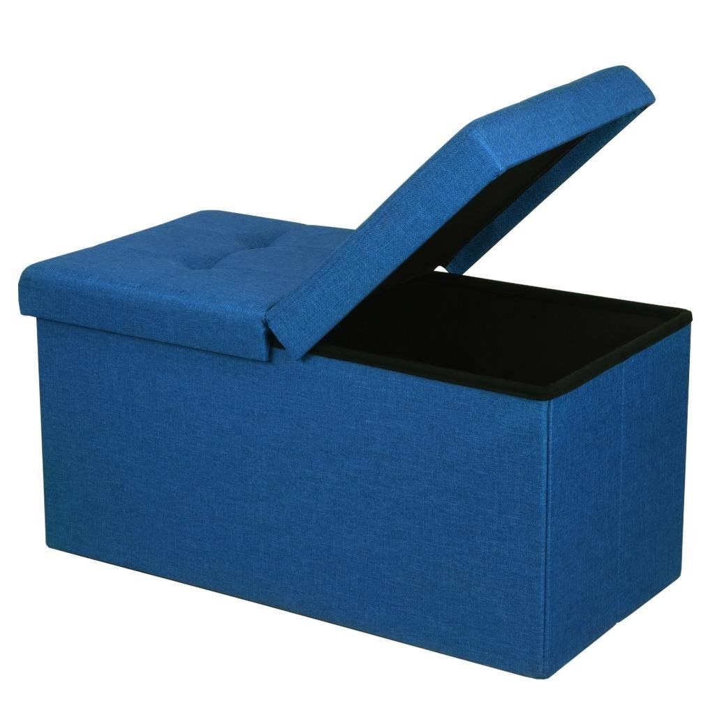 """Otto & Ben 30"""" Storage Ottoman - Folding Toy Box Chest with SMART LIFT Top, Upholstered Tufted Ottomans Bench Foot Rest for Bedroom, Royal Blue"""