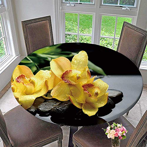 (PINAFORE HOME Circular Table Cover Still Life with Yellow Orchid and Bamboo Leaf on Pebbles for Wedding/Banquet 50