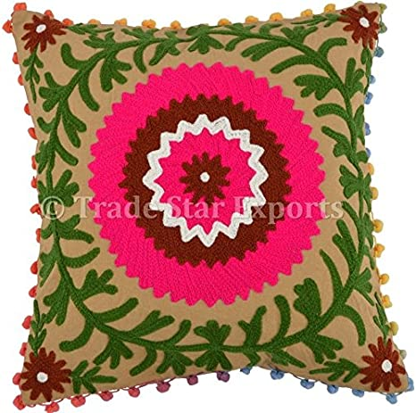 """Indian Suzani Cat Embroidered Cushion Cover Cotton Square Throw Pillow Case 16/"""""""